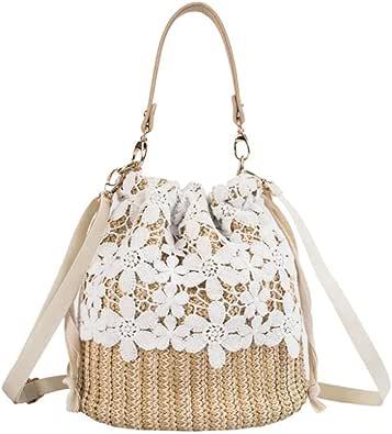 YAKEFJ Stroh-Crossbody-Handtaschen, Damen-Handtasche mit Griff oben, Sommer-/Strand-Handtasche