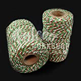 10m RED GREEN WHITE & GOLD SPARKLE CHRISTMAS BAKERS GIFT WRAPPING STRING TWINE CORD
