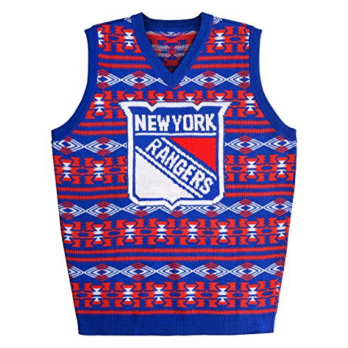 FOCO New York Rangers Aztec Print Ugly Sweater Vest Large