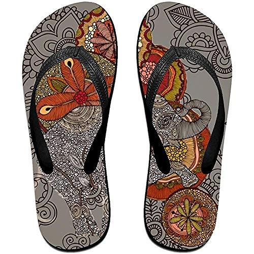 Zapatillas Chanclas Antideslizantes Unisex Brillante ColBright Color Flor Elefante Cool Zapatillas de Playa Sandalia