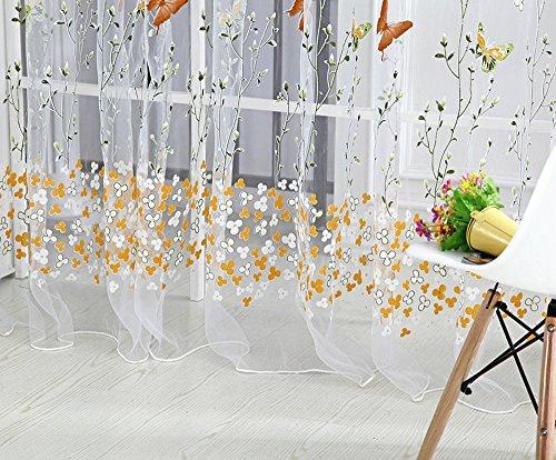 DIKHBJWQ Schmetterling Gardine TüLl Fenster Behandlung Voile Drapieren Volant 1Panel Stoff (Volant Fenster Frühling)