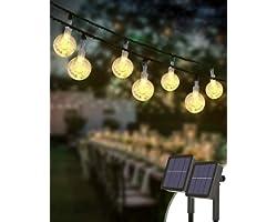 Guirnaldas Luces Exterior Solar [2 Pack], Kolpop Total de 60 LED Cadena de Bola Cristal Luz, Guirnalda Solar LED Bola de Cris