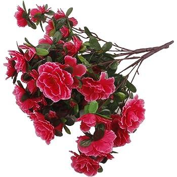 2 Bouquets Fleur Azalee Artificielle Bouquet De Mariage Decoration