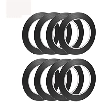 PrettyDate 8 Pieces 3 mm Width Black Whiteboard Gridding Graphic Tape Self-ad...