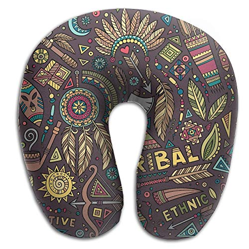 Hipiyoled Tribal Native Ethnic Symbols Memory Foam U-Shaped Pillow,Unique Travel Rest Pillow