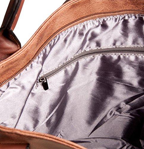 Liberta Shopper Tasche LI1034 Damen Schultertasche 35x32x13 cm (BxHxT), Farbe:Schwarz Rot