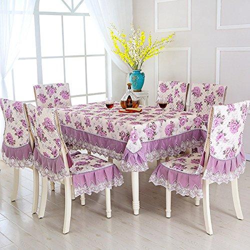 BLUELSS 13 Stk/set Rechteckige Tischdecke bestickt Floral Tischdecke für Hochzeit Esstisch mit Stuhlhussen toalha de mesa, mudanzi, ca. 150 x 200 cm -