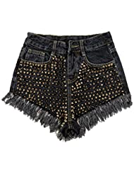 WHTLL-Femmes Coréennes Rivets En Métal Lourd Tassel Bavure Taille Haute Shorts Denim