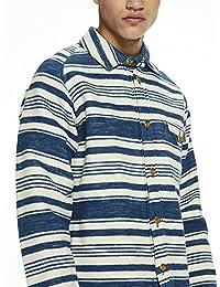 Scotch & Soda Oversized Brushed Cotton Blanket Overshirt with Japanese Det, Chemise Casual Homme