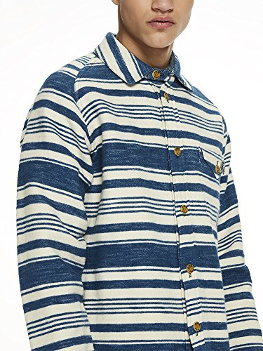 Scotch & Soda Herren Freizeithemd Oversized Brushed Cotton Blanket Overshirt with Japanese Det, Mehrfarbig (Combo A 17), Small (Soda Hemd Streifen)