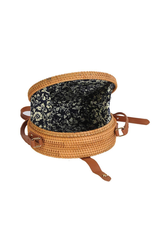 Howoo Rund Rattan Basket Tasche,Handgewebte Tasche