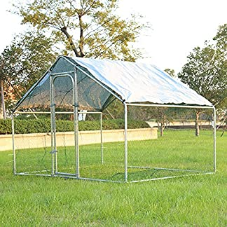 Warmiehomy Chicken Run for Hens Dogs Poultry Rabbit Ducks Coop Chickens (2m x 3m) Chicken Coop 3 x 2 x 2m Metal Walk-in Hen Run House with Waterproof Anti-Ultraviolet Cover, Poultry Shade Cage for Outdoor Backyard Farm Use 61OOSKhJsjL