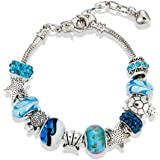 Zealite 925 Sterling Silver Diy Charm Beaded Pandora Element Bracelet Ocean Style Women Girls Crystal Jewelry