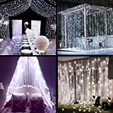 LED Indoor Curtain string Lights -- garden fairy party decorations, 304LEDs Outdoor Decoration Light for bedroom Wedding Christmas 3m*3m with EU plug(White)