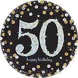 Amscan 551546 piatti di carta con decorazioni riflettenti in Oro e scritta, 26cm (in lingua inglese)