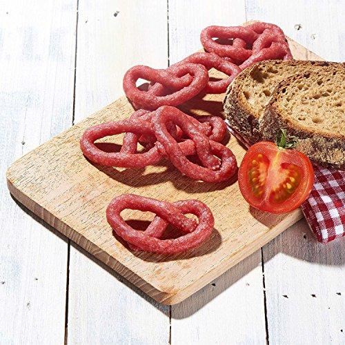 Salami Mini Brez'n - original Wurst Snack Brezeln aus Bayern - Karton mit 16 Packungen je 50 g