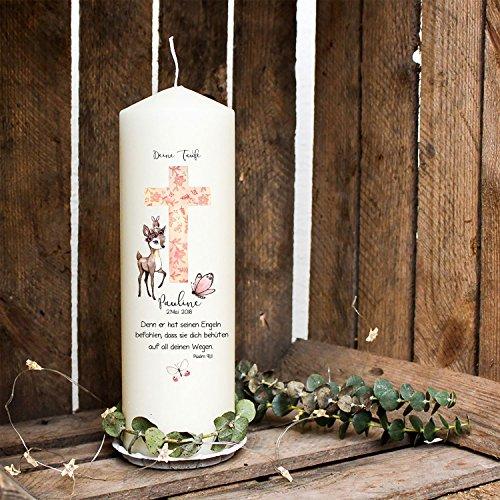 ilka parey wandtattoo-welt Taufkerze Kerze zur Taufe oder Geburt Kommunionkerze Kreuz rosa mit Reh Schmetterling Spruch Wunschname & Datum wk40 - 2