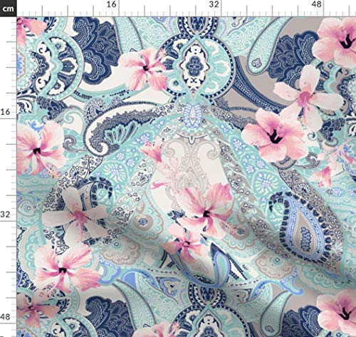 Paisley, Hibiskus, Blumen, Tropisch, Hippie, Verziert Stoffe - Individuell Bedruckt von Spoonflower - Design von Paisleypower Gedruckt auf Synthetik Jersey - Hippie Paisley Rock