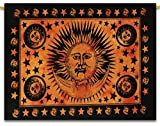 """Sun Printed Orange Tapestry Cotton Wall Hanging Throws Poster Size Home Decor Size 42"""" x 30"""" Inches"""