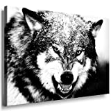 Bilder Kunstdrucke / Boikal / Bild mit Keilrahmen Wolf Attack 100x70 cm xxl.448