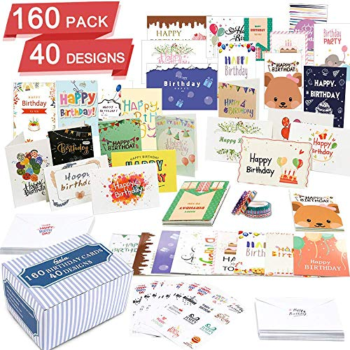 160 Pack 40 Designs Birthday Cards, Happy Birthday Card Assorted Bulk with 160 Blank Envelopes 14 Pieces of Sticker Sheets 6 Washi Tapes, Feela 4 X 6 Inches Greeting Cards For Family Friends Coworkers