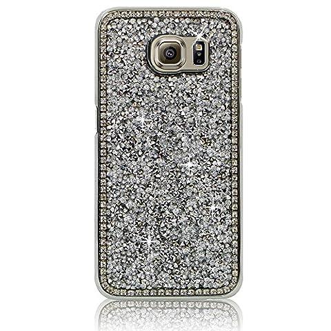 Xtra-Funky Reihe Samsung Galaxy S7 Kristallrhinestone-Felsen harter Fall mit Sekt Diamante Kanten und Chrom-Rim - Silber