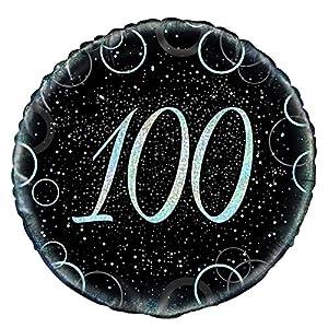 Unique Party Globo foil de 100 cumpleaños Color plateado metálico brillante 45 cm 55828