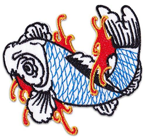 Nish igikoi toppa patch carpa tattoo giappone marziali irezumi koi party festival, koi weiß, piccolo