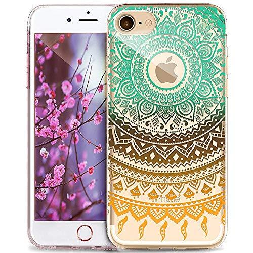 Kompatibel mit Hülle iPhone 6S Plus/6 Plus Hülle,Indische Sonne Handyhülle Silikon TPU Silikon Hülle Handyhülle Tasche Durchsichtig Schutzhülle für iPhone 6S Plus/6 Plus,Mandala Spitze Blumen #6