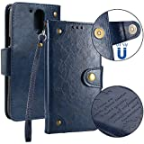 Motorola Moto G4 Plus Case, Danallc Luxury PU Leather Wallet Flip Protective Surface Case Cover With Card Slots And Stand For Motorola Moto G4 Plus Blue