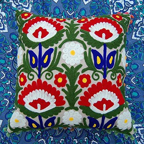 Pillow-top-matratze König-set (Dekorative indischen 40,6x 40,6cm Suzani Kissen aus Wolle Stickerei Kissen Fällen)