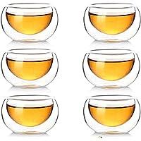 Lot de 10 tasses à café à double paroi en verre isotherme résistant à la chaleur, 50 ml