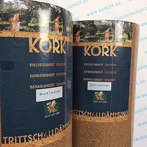 EKB-Kork Trittschalldämmung 15x1m 2mm stark natürliche Dämmunterlage für Parkett und Laminat