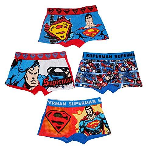 DC Superman Unterwäsche Boxer Shorts für Jungen 4er Set (4/5 Jahre) (Baumwolle Boxer Superman)