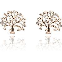 Orecchini per donne, in argento con toni di oro rosa, per ragazze alla moda, orecchini a perno a forma di albero della…