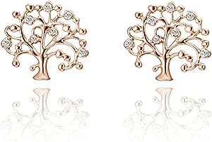 Orecchini per donne, in argento con toni di oro rosa, per ragazze alla moda, orecchini a perno a forma di albero della vita, con zirconi cubici