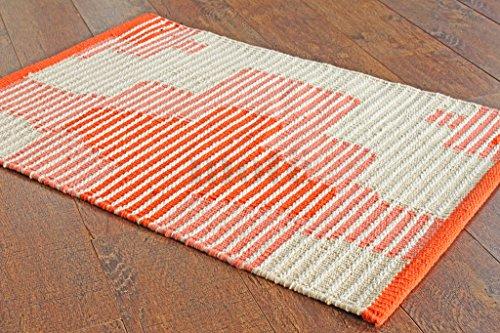 50 x 80 cm Alfombra de tejido reversible tejido 100% material orgánico con tintes vegetales.Tapete. 1'8' x 2'8' Orange/Pink Designer Pattern Rug/Mat, Style: 1865
