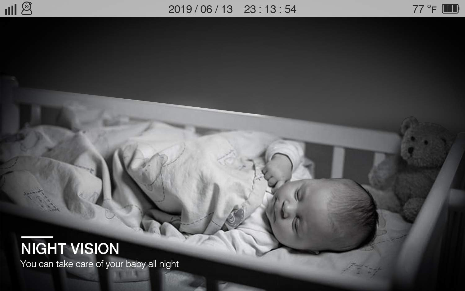 Baby Monitor, BOIFUN Baby Video Camera with 5'' 1280x720P HD Screen 2000mAh Rechargeable Battery with VOX Night Vision Temperature Monitor Two-Way Talk 355 Degree Remote Control Camera Baby/Elder/Pet BOIFUN Sleep Mode & Night Vision----In Sleep mode, The screen on the mother unit is black. Screen will light up when baby starts crying. Night vision distance is 5 meters, so you will never miss any moment of your baby, and it frees yourself from the hustle and bustle. You will be able to have your own time to read, watch TV, or even enjoy a couple of drinks with your husband. Bring you lots of fun. 2000mAh Battery----2000mAh high-capacity battery (mother unit), lasts up to 6 hours with full functions, and 20 hours in sleep mode, from testing results. Let you have longer time get rid of the shackles of the wires. Bring you longer time of fun. 300Meters Extra-Large Range----300m signal coverage area (outdoor test) allows you to cook happily downstairs, enjoy the sun in the pool, or even have a relaxing BBQ time with friends in terrace. Bring you bigger fun. 6