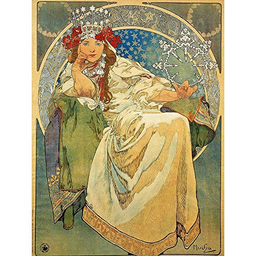 Wee Blue Coo LTD Alphonse Mucha Princess Hyacinth 1911 Old Master Painting Art Print Poster Wall Decor Kunstdruck Poster Wand-Dekor-12X16 Zoll -