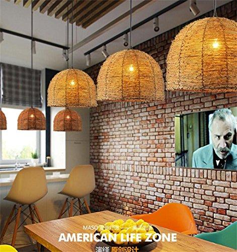 Lampadario Creativo Rattan Esterno Lampada da Giardino Ristorante Minimalista dei Vestiti Retro Terrace Cafe Art Chandelier (Stile : A)
