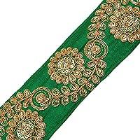 Cinta Verde Bordada Recorte Artesanía Decorativa 5,8 Cm De Ancho Por El Patio