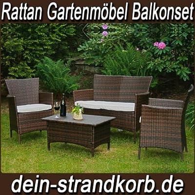 7tlg. Gartenmöbel Rattan Balkon und Terassen Set Milano