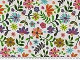 Zanderino ab 1m: Dekostoff, poppige Blumen, weiß-bunt,