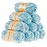 maDDma ® Alize-Softy Strickgarn 10 x 50g, Kuschelwolle, Babywolle, Farbe wählbar, Farbe:Mehrfarbig 4