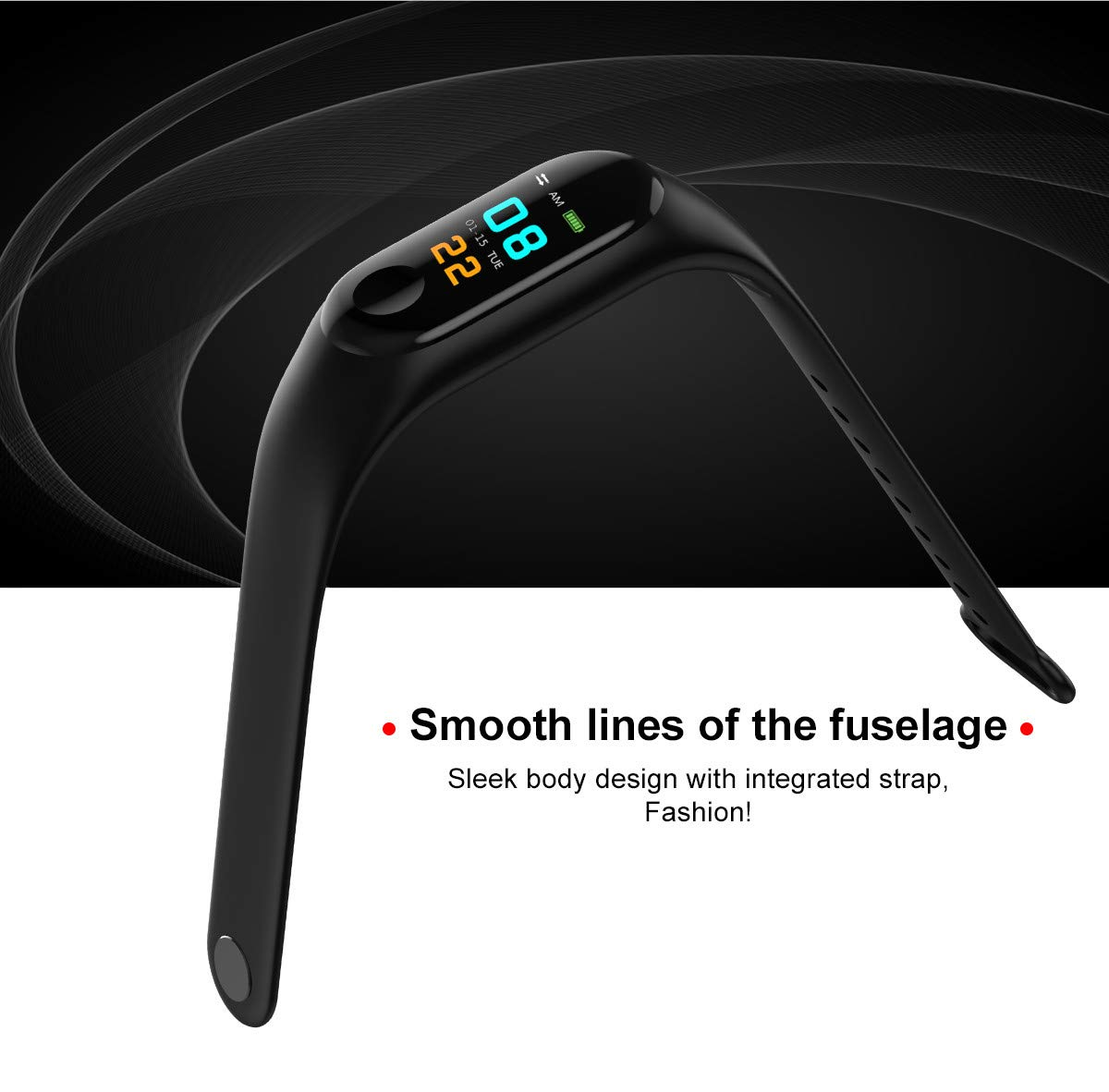 WANGLAI 1 PC Rastreador de Ejercicios, Pulsera Inteligente con Monitor de Ritmo cardíaco, Brazalete Inteligente con podómetro de Seguimiento de Actividad de sueño de Salud para teléfono Inteligente 4