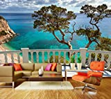 Premium-Vliestapete XXL Balkon auf das Meer Fototapete Premium brilliante Farben Vliestapete | XS 150 x 105cm - 3 Bahnen | Papier
