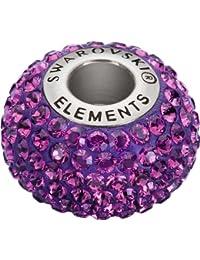 Grand Trou Perles de Verre a enfiler de Swarovski Elements 'BeCharmed Pave' 14.0mm (Amethyst, Acier affiné), 12 Pièces