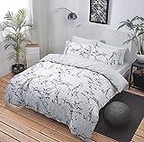 Bettbezug, Bettwäsche-Set:Marmor Grau / Pink, alle Größen, Polycotton, grau, King Size
