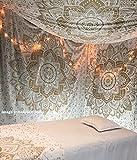 Metallic brillo Golden hecha a mano tapiz Twin de raajsee, Ombre camas, Mandala Pared Alfombra, Multi Color Índico Mandala Pared De hippie pared colgantes Bohemian