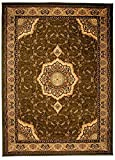 Tapiso YESEMEK Teppich Klassisch Kurzflor Orientalisch Teppiche Floral Ziegler Ornament Muster Bordüre in Grün Beige Barock Design Orientteppich Wohnzimmer ÖKOTEX 200 x 400 cm